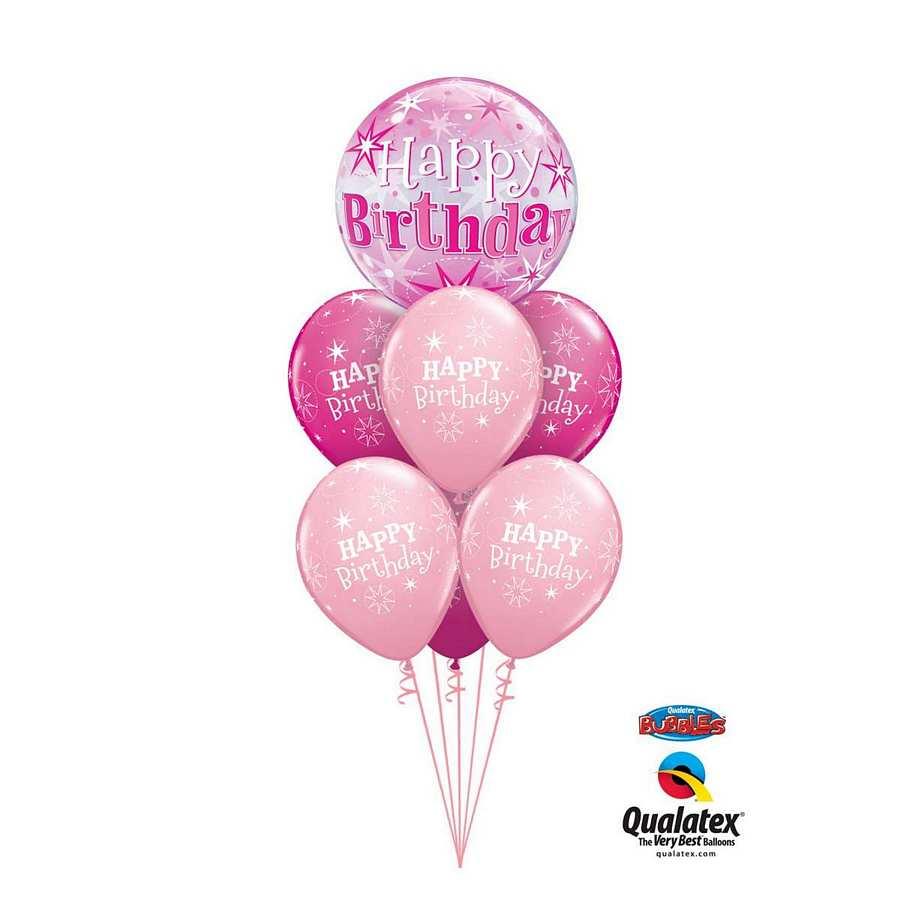 Pink Bubble Happy Birthday Balloon Bouquet