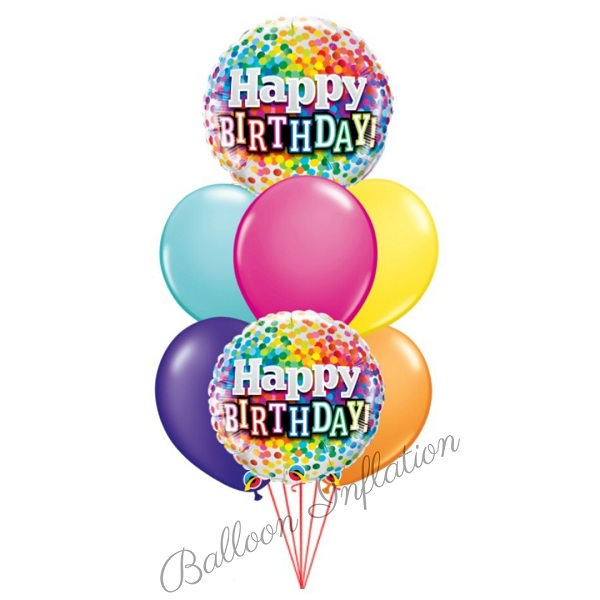 Rainbow Dots Happy Birthday Balloon Bouquet