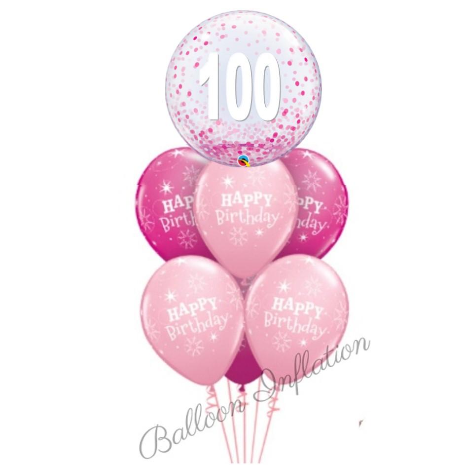 100th Birthday Pink Confetti Bubble Balloon Bouquet