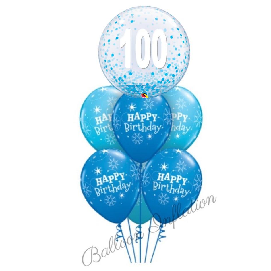 100th Birthday Blue Confetti Bubble Balloon Bouquet