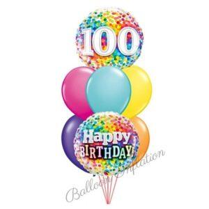 100th Rainbow Dots Birthday Balloon Bouquet