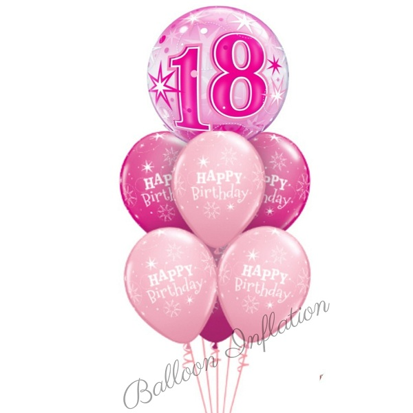 18th Birthday Pink Starburst Bubble Balloon Bouquet
