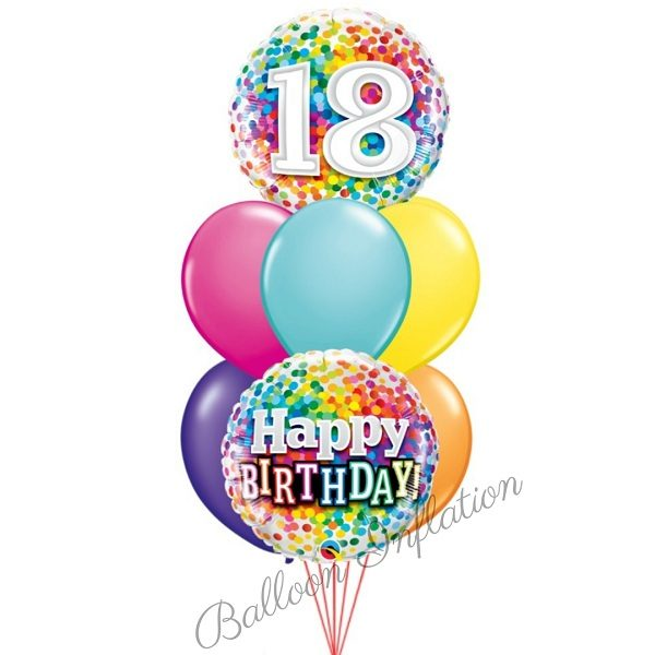 18th Rainbow Dots Birthday Balloon Bouquet