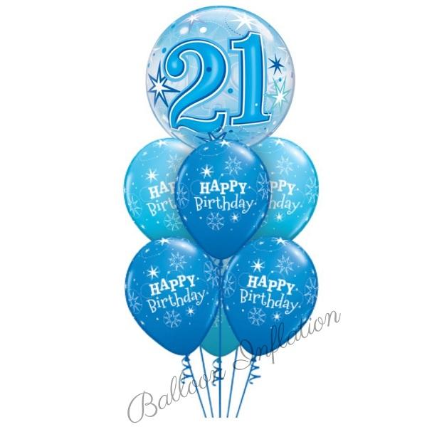 21st Birthday Blue Starburst Bubble Balloon Bouquet