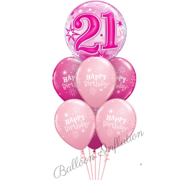 21st Birthday Pink Starburst Bubble Balloon Bouquet