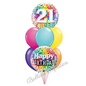 21st Rainbow Dots Birthday Balloon Bouquet