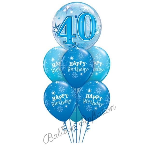 40th Birthday Blue Starburst Bubble Balloon Bouquet