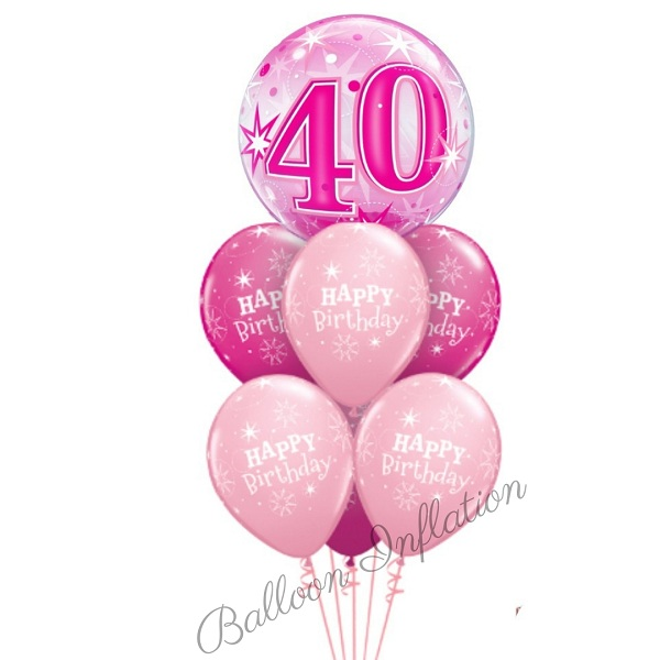 40th Birthday Pink Starburst Bubble Balloon Bouquet