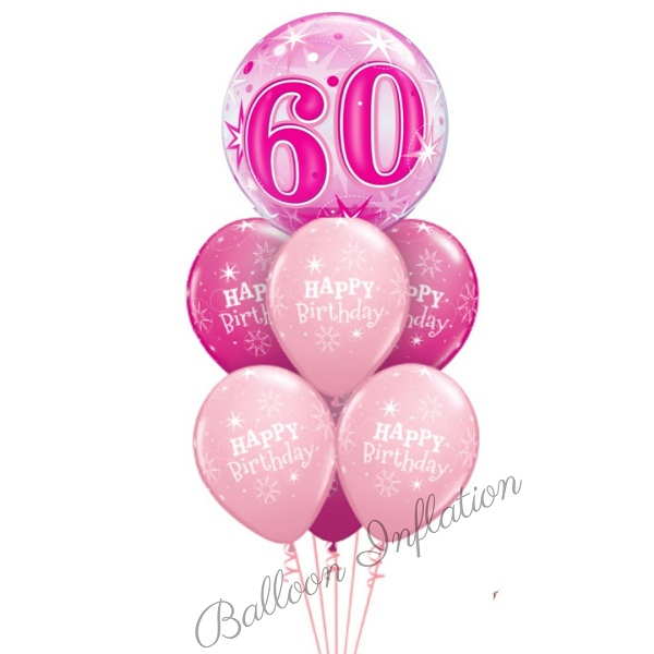 60th Birthday Pink Starburst Bubble Balloon Bouquet