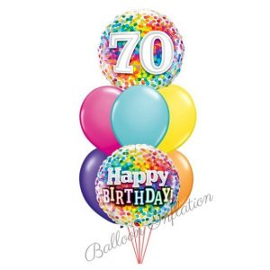 70th Rainbow Dots Birthday Balloon Bouquet