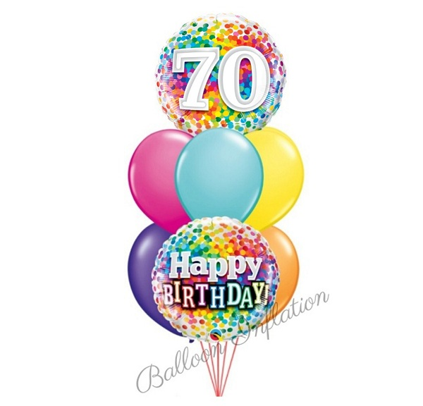 70th Rainbow Dots Birthday Balloon Bouquet