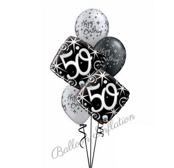 50th Elegant Black Silver Birthday Balloon Bouquet