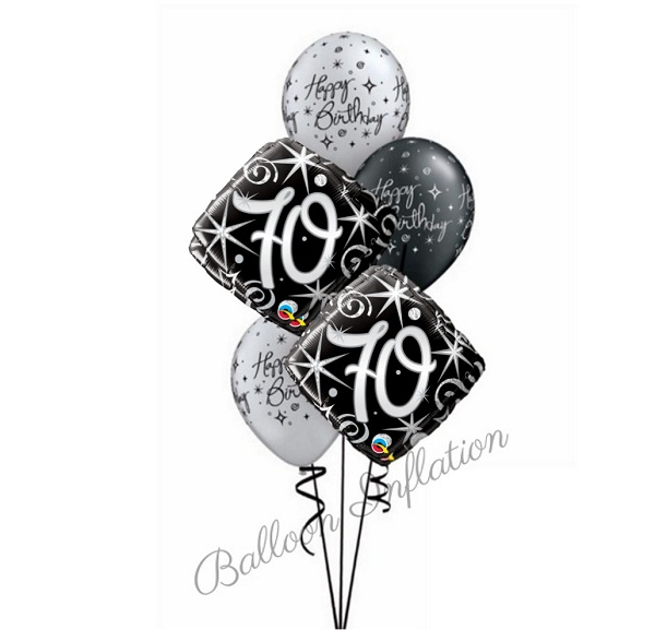 70th Elegant Black Silver Birthday Balloon Bouquet