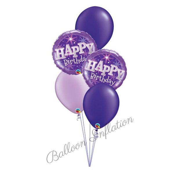 Purple Perfection Happy Birthday Balloon Bouquet
