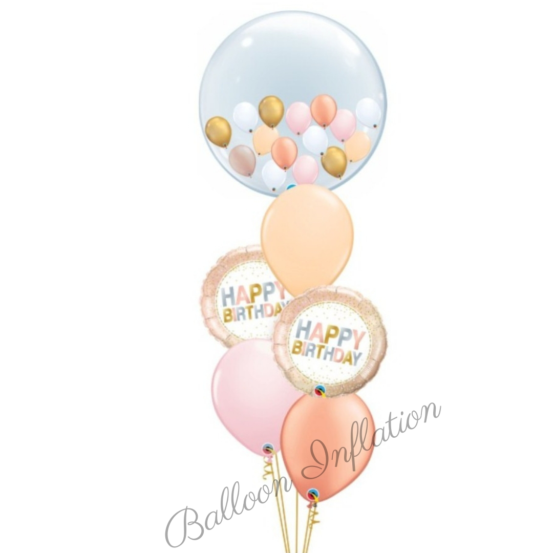 Rose Gold Happy Birthday Balloon Bouquet