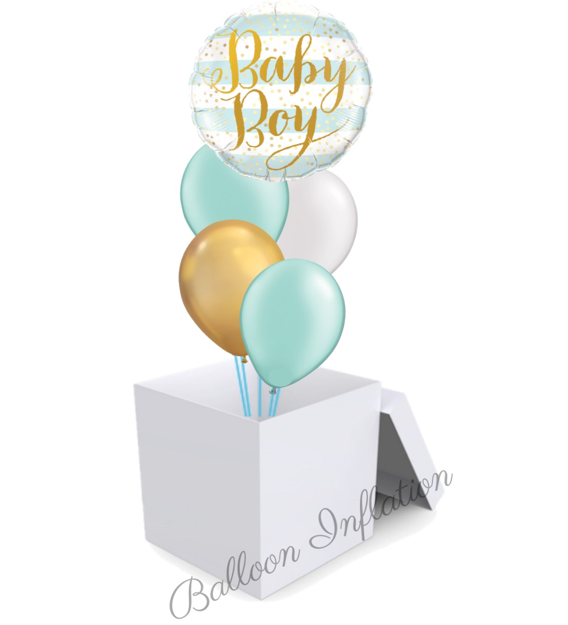 Baby Boy Mint And Gold Balloon Bouquet In A Box