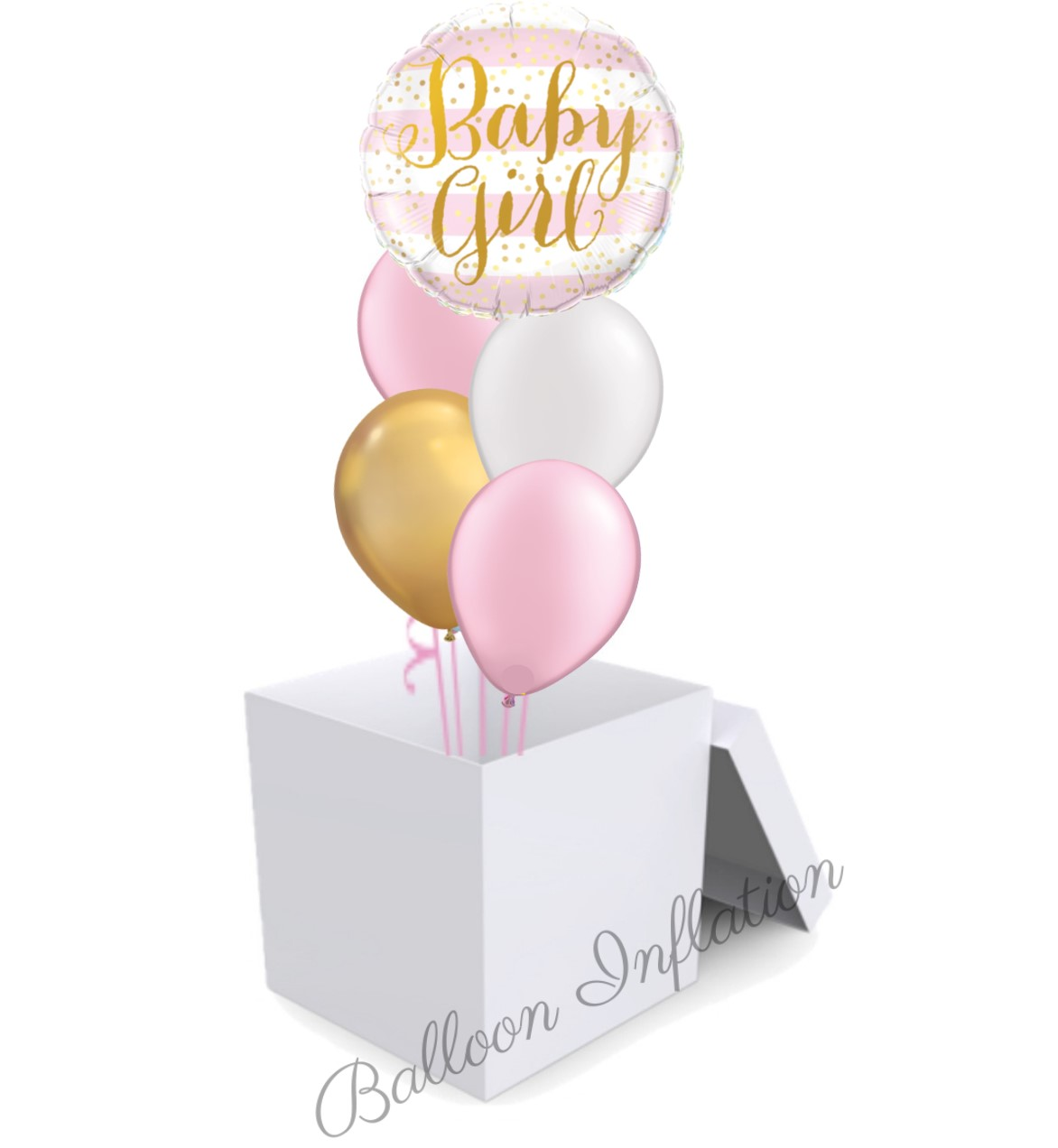 Baby Girl Pink And Gold Balloon Bouquet In A Box