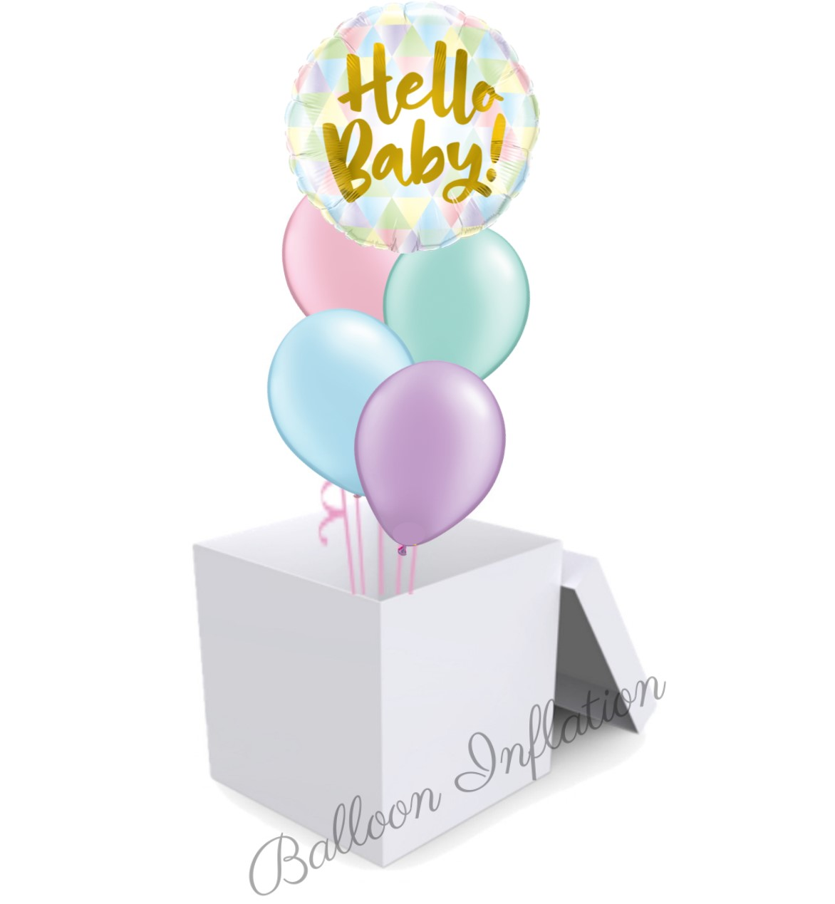 Hello Baby Pastel Balloon Bouquet In A Box