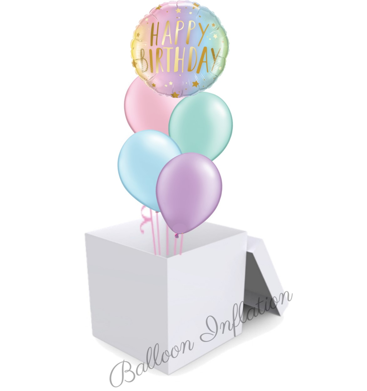 Pastel Pearl Ombre Balloon Bouquet In A Box